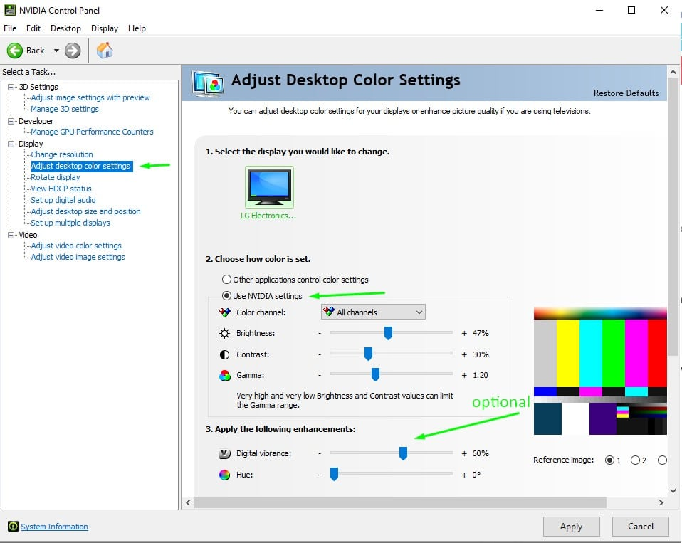 nvidia control panel adjust color settings